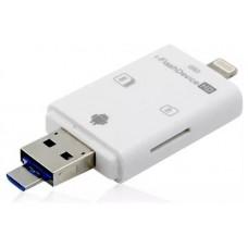 Lector Tarjeta SD/MicroSD 4 en 1 a USB/Micro USB/Lightning (Espera 2 dias)